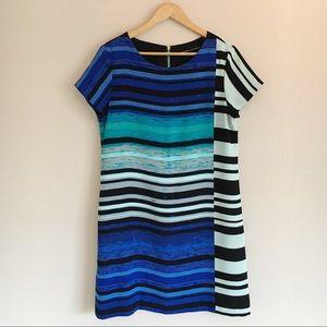 Ivanka Trump Blue & Black Striped Shift Dress